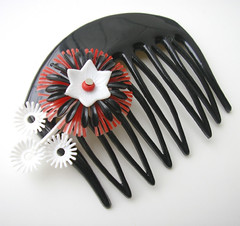 Black, White and Red Vintage Flowers Hair Comb / Barrette