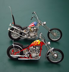 Easy Rider Harley Choppers (davekpcv) Tags: pictures blue red white classic film bike yellow america catchycolors movie jack chopper die flames models motorcycles bikes harley peter cast captain harleydavidson billy hd easy nicholson dennis custom build wyatt hog davidson rider captainamerica hopper starsandstripes props harleydavidsonmotorcycles hogs panhead peterfonda motocicleta harleys hardtail easyrider fonda motorrad diecast customised dennishopper paintwork redandyellow  motorfiets vpower franklinmint motociclo capitoamrica diecastmodel billybike hydraglide custompaintwork choppermotorcycles easyridermovie captainamericabike fishtailpipes peterfondaanddennishopper franklinmintmotorcycle