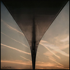 A bridge too far (moggierocket) Tags: bridge sunset sky maastricht perspective vaportrail 500x500 voetgangersbrug notabottom winner500