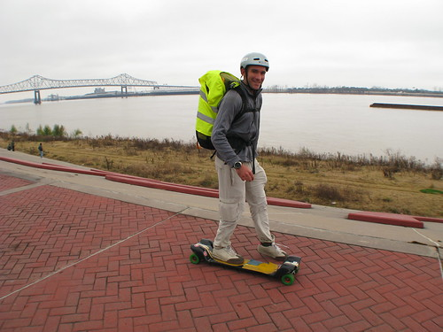 Skating alongside the Mississippi River, Louisiana, USA