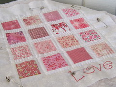 WIP Hand Quilted Doll Quilt (WendysKnitch) Tags: pink love doll quilt fabric valentines