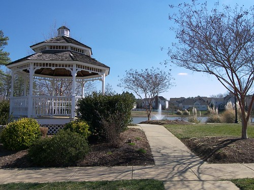Riggsbee Farm community gazebo has a view of the lake with fountain.