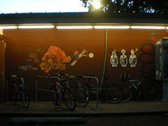 3/11/08 Westside Co-op (sixheadedgoblin) Tags: pasteup bicycle decay spray sunflower scrawl publicart olympiawashington westsidecoop recurring7birdcagehead recurring342012isnow bowmanrogers