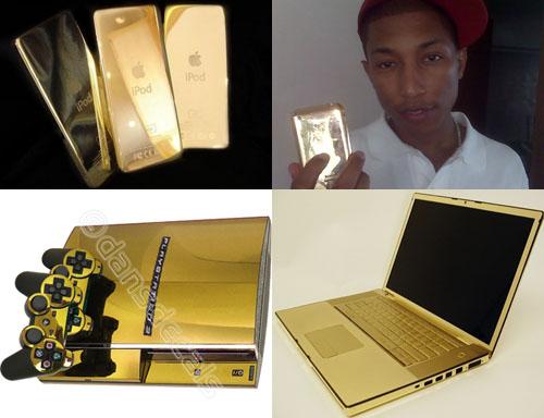 Ejemplos de gadgets bañados en oro y demás horteradas, incluye a un cutre con un iPhone de oro en las manos