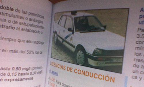 Foto de un Peugeot 505 en un libro de autoescuela