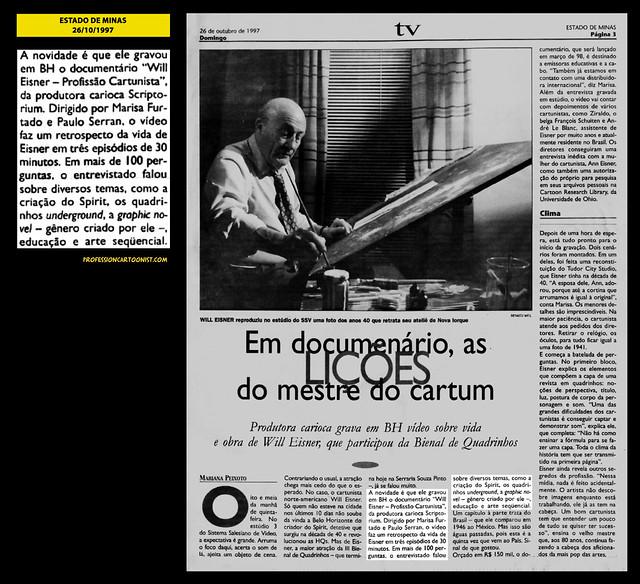 """""""Em documentário, as lições do mestre do cartum"""" - Estado de Minas - 26/10/1997"""