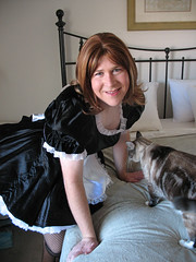Black Maid Uniform (melissa2xs) Tags: french tgirl fishnets maid crossdresser