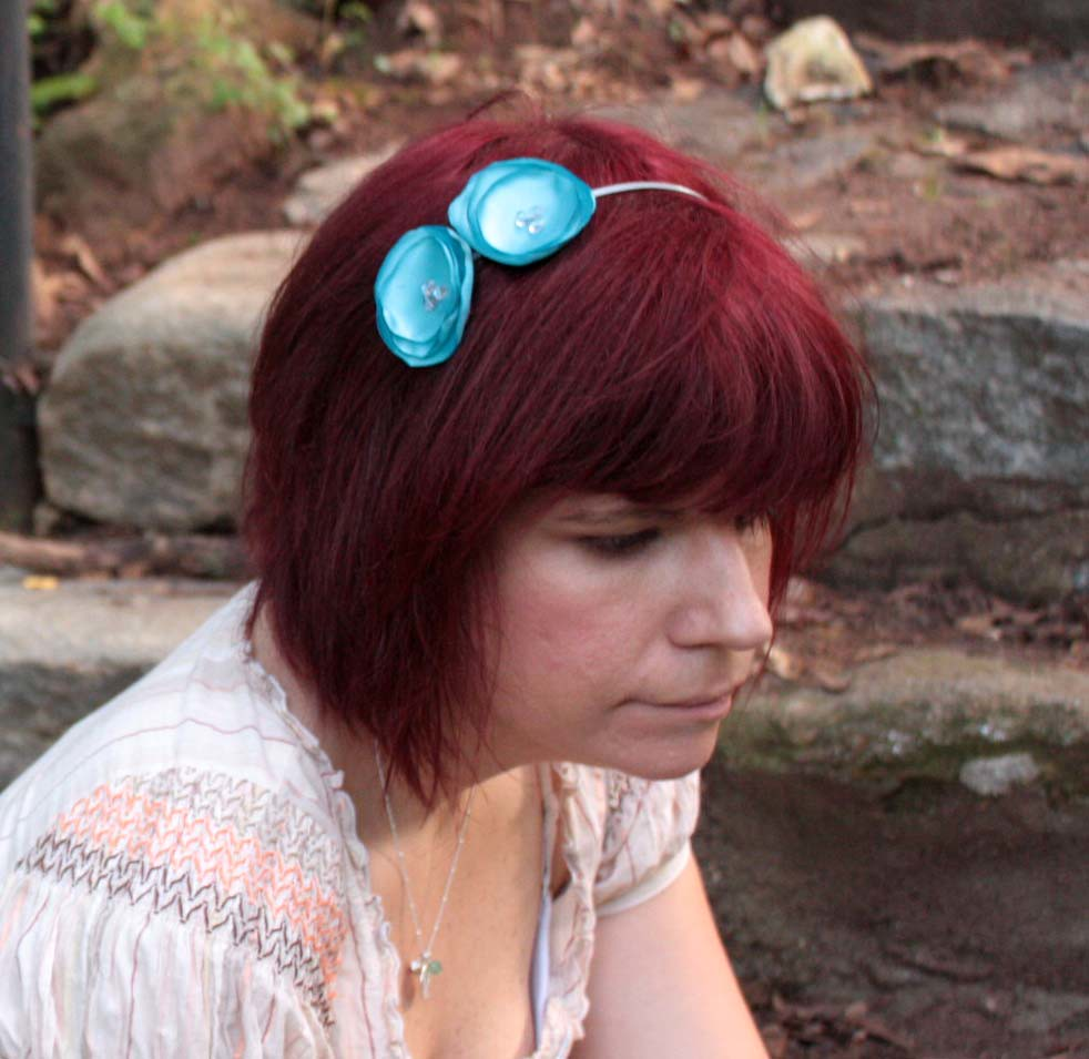Blue flower headband, heart bead centers
