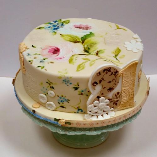 Vintage Lace Cake by neviepiecakes