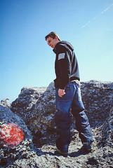 Rock climbing (jennydasdesign) Tags: travel vacation rocks sweden naturereserve lensflare sverige gotland 2009 sunflare rauk stenar naturreservat folhammar sonydslra300