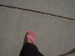 Walking (DeeJay Photography) Tags: school college mi campus foot toes university michigan nail sunny polish flipflop ypsilanti emu monday eastern leggings univeristy sandle