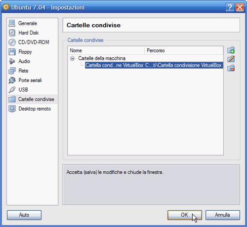 Fig. 7 - Cartelle condivise guest Linux - cartella host selezionata