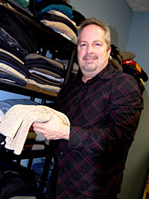 Stephen Flynn checks out Working Gear's collection of sweaters.