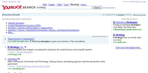 e-strategy - Yahoo! Directory Search Results - 11/05/07