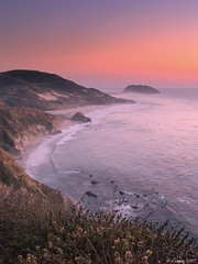 Big Sur At Sundown (kudaker) Tags: ocean california sea orange cliff seascape coast haze purple sundown bigsur pb moo aviles pf pointsur e500