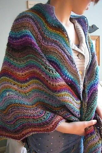 Noro shawl modeled