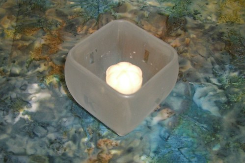 K-N-I-T Etched Glass Candle Holder