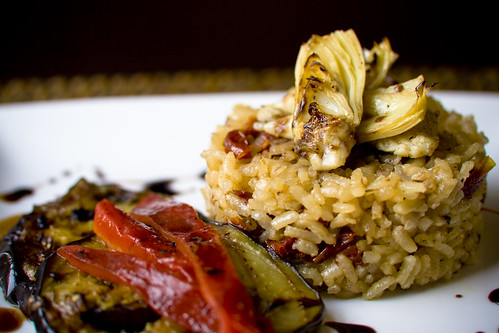 Baked Sundried Tomato Risotto with Veggies and Balsamic Reduction