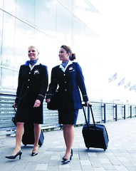 Finnair - suits (baldpipeguy) Tags: blue finland helsinki turquoise finnair stewardess 2008 flightattendant stewardessuniform airlinefashion flightattendantuniform