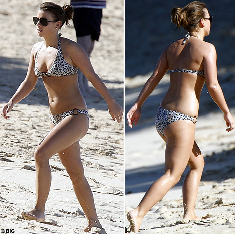 Coleen McLoughlin in bikini - front and back views
