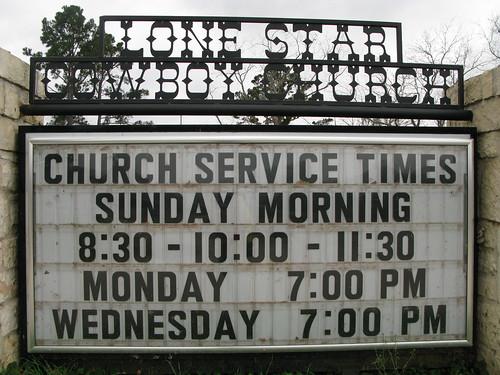 The Lone Star Cowboy Church near Montgomery, Texas, USA