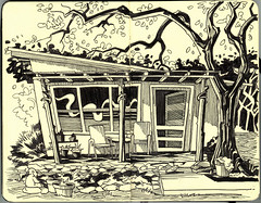 home (susanrudat) Tags: bw house moleskine sketch texas drawing sketching deer hillcountry sketches bhuda