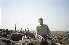 Vin on the rocks (Jennifer Kumar) Tags: bombay mumbai negativescan india1998