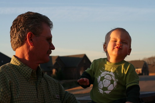 Eli and Pops Making Faces