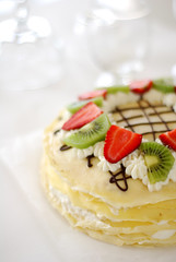 Crepe cake (*steveH) Tags: food cake fruit dessert strawberry colorful sweet chocolate cream explore crepe kiwi crepes crpes crpe steveh crepecake