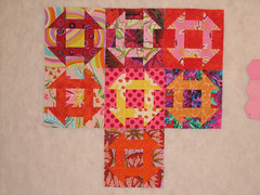 Churn Dash Blocks (opheliaspins) Tags: pink red orange yellow quilting quilts quiltblocks churndash churndashquiltblock