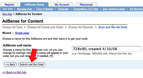 Google AdSense Get Code Bug?