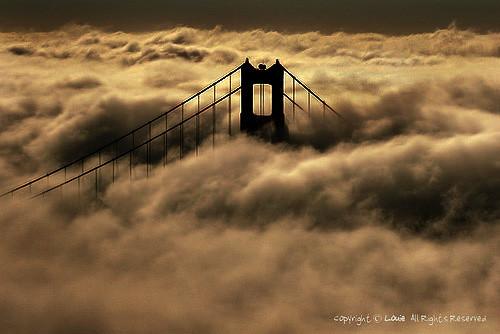 golden gate bridge fog. golden gate bridge in