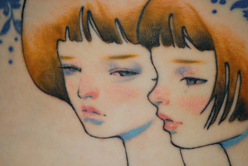 Audrey Kawasaki tattoo--face close-up