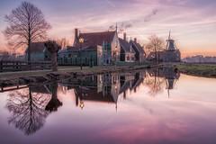 Windmill village (a3aanw) Tags: zaanseschans longexposure groen huiswoodenhouses sunset d800 reflection molen windmill hdr spiegeling 1835mm sky