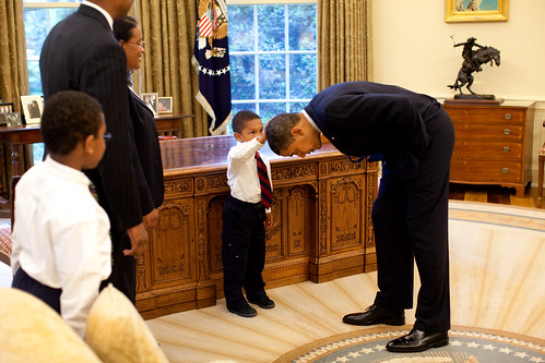 """Never is a man so tall..."" A young man wondered if his haircut felt like the President's"