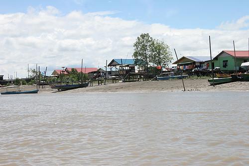 Houses along river on way to Bako