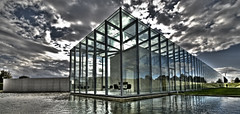 Tadao Ando (Willem Heerbaart) Tags: sky art glass architecture clouds photoshop wow wideangle dreams hdr tadaoando inselhombroich houseofglass