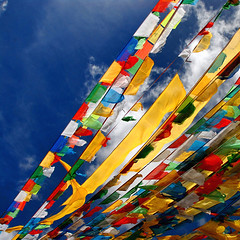 Sutras in the sky  (Ha-r-bin) Tags: china sky vivid flags tibet streamers sutra 2007  0709  nyingchi   milapass