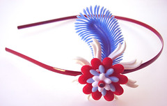 Red, Blue and White Vintage Flowers Headband