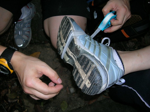 Shoe under first-aid care