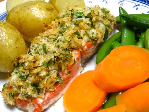 Salmon with lemon and herb crust