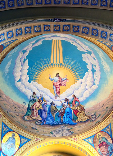 Saint Mary of the Barrens Roman Catholic Church, in Perryville, Missouri, USA - painting of Ascension above sanctuary
