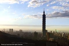 Taipei 101 Skyscraper (*Yueh-Hua 2016) Tags: camera sunset building tower architecture skyscraper canon buildings eos fine taiwan 101  taipei taipei101 dslr   tamron      30d  101  a16     canoneos30d horizontalphotograph tamronspaf1750mmf28xrdiii  taipei101skyscraper taipei101internationalfinancialcenter tigerpeak   2008january