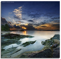 Pulau Ubin Sunrise (DanielKHC) Tags: longexposure sea sky panorama sun seascape vertical digital sunrise landscape island high singa