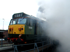 D444 (50044) Cold Start (Frosted Peppercorn) Tags: cold yard start video diesel smoke sony engine rail hoover thrash emissions handycam frosted fumes svr peppercorn severnvalleyrailway kidderminster class50 d444 50044 turnrable