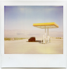 desert gas station (john curley) Tags: polaroid jeep gasstation deathvalley spectra expiredfilm deathvalleynationalpark roidweek2008