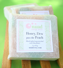 Honeydew Peach (naiadsoaparts) Tags: soap natural peach honeydew labeled ricepaper scented coldprocess