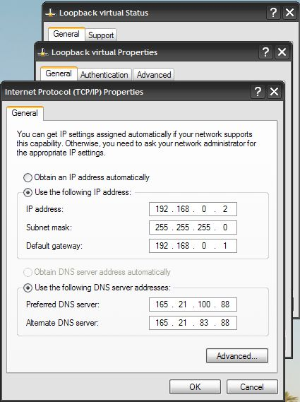 ICS manual DNS IPs for virtual network adapter