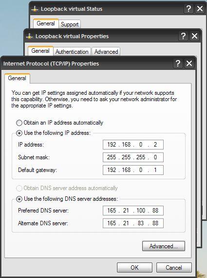 ICS manual DNS IPs for virtual network adapter