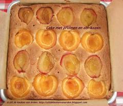 Cake met pruimen en abrikozen